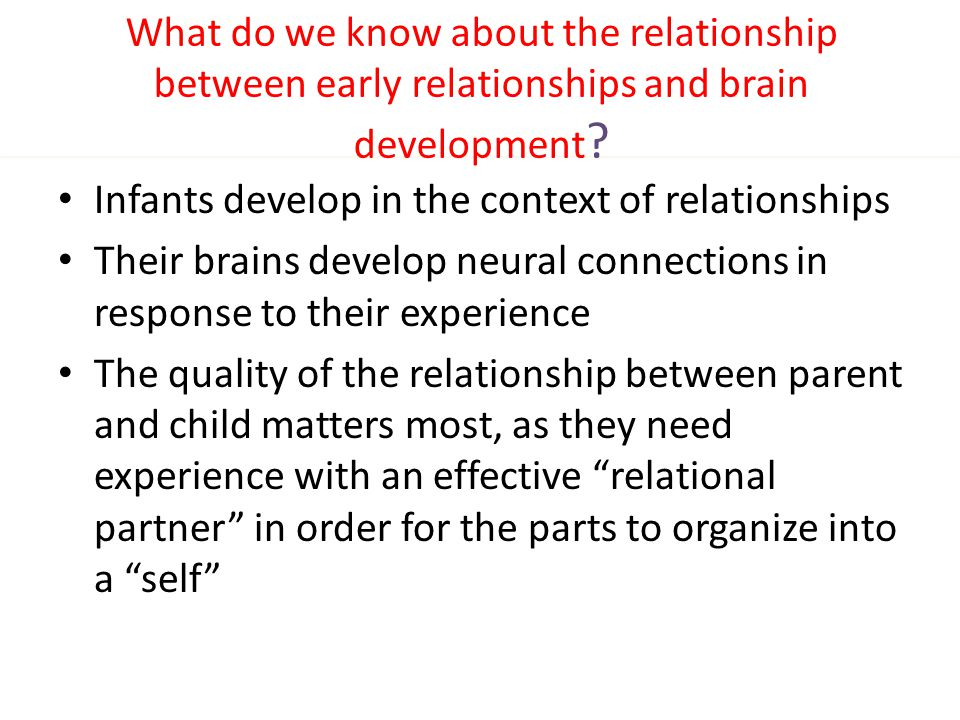 What do we know about the relationship between early relationships and brain development ? Infants develop in the context of relationships Their brain