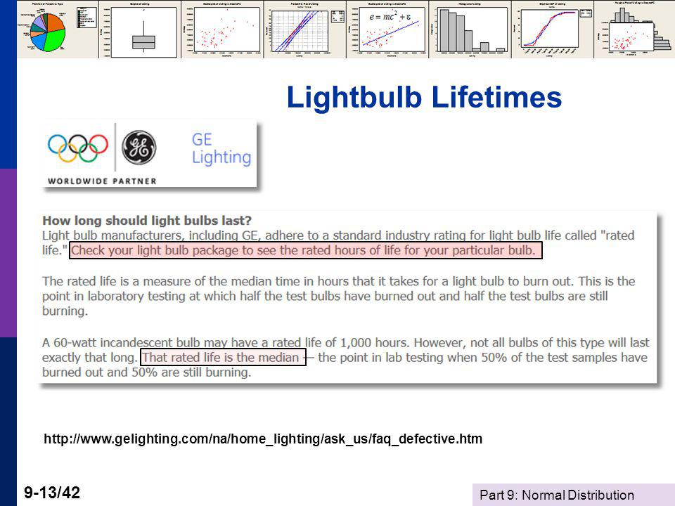 Part 9: Normal Distribution 9-13/42 Lightbulb Lifetimes http://www.gelighting.com/na/home_lighting/ask_us/faq_defective.htm