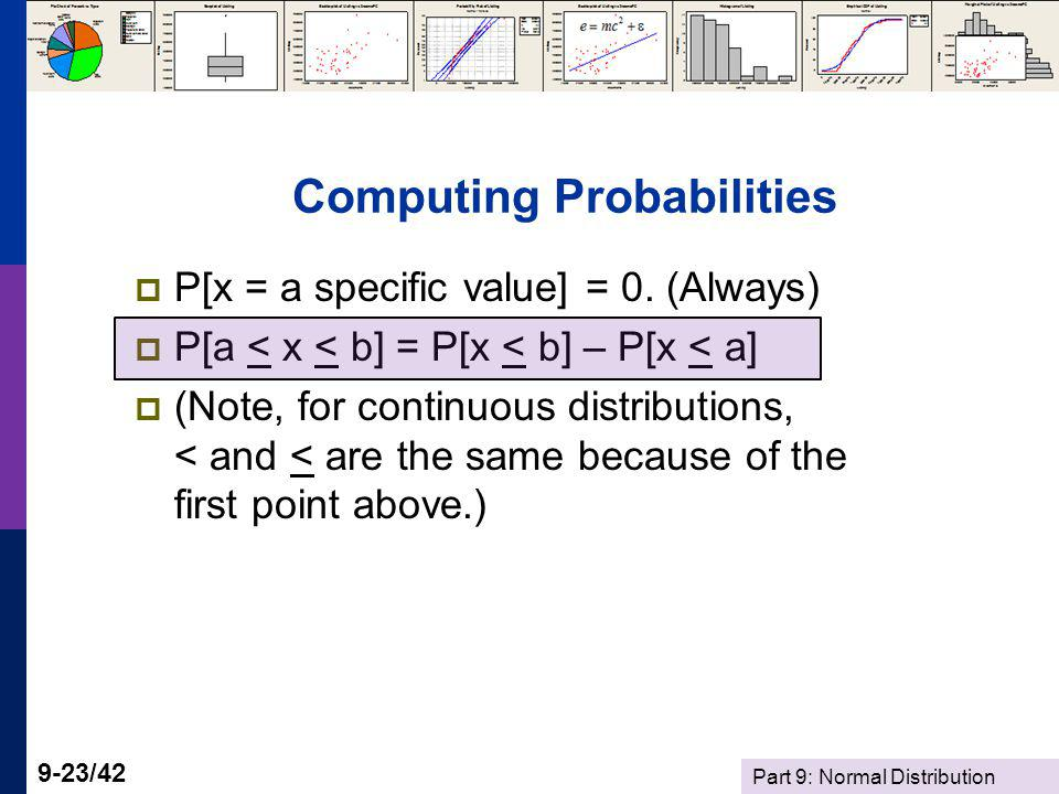 Part 9: Normal Distribution 9-23/42 Computing Probabilities P[x = a specific value] = 0. (Always) P[a < x < b] = P[x < b] – P[x < a] (Note, for contin