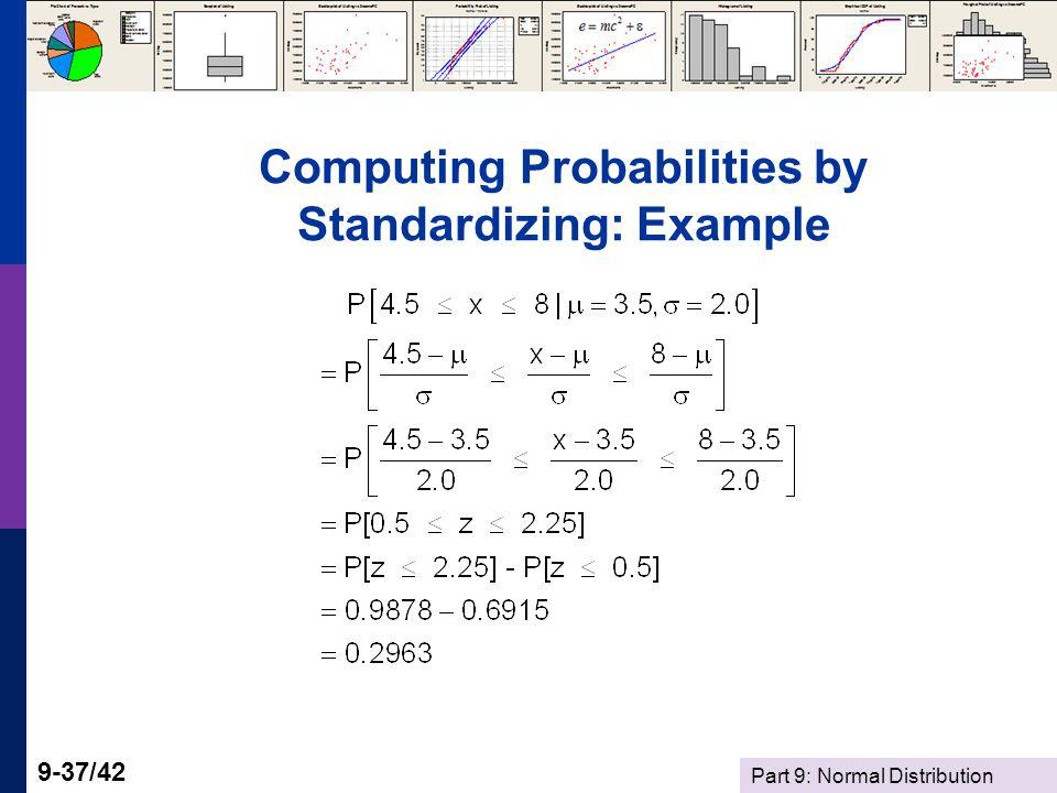 Part 9: Normal Distribution 9-37/42 Computing Probabilities by Standardizing: Example
