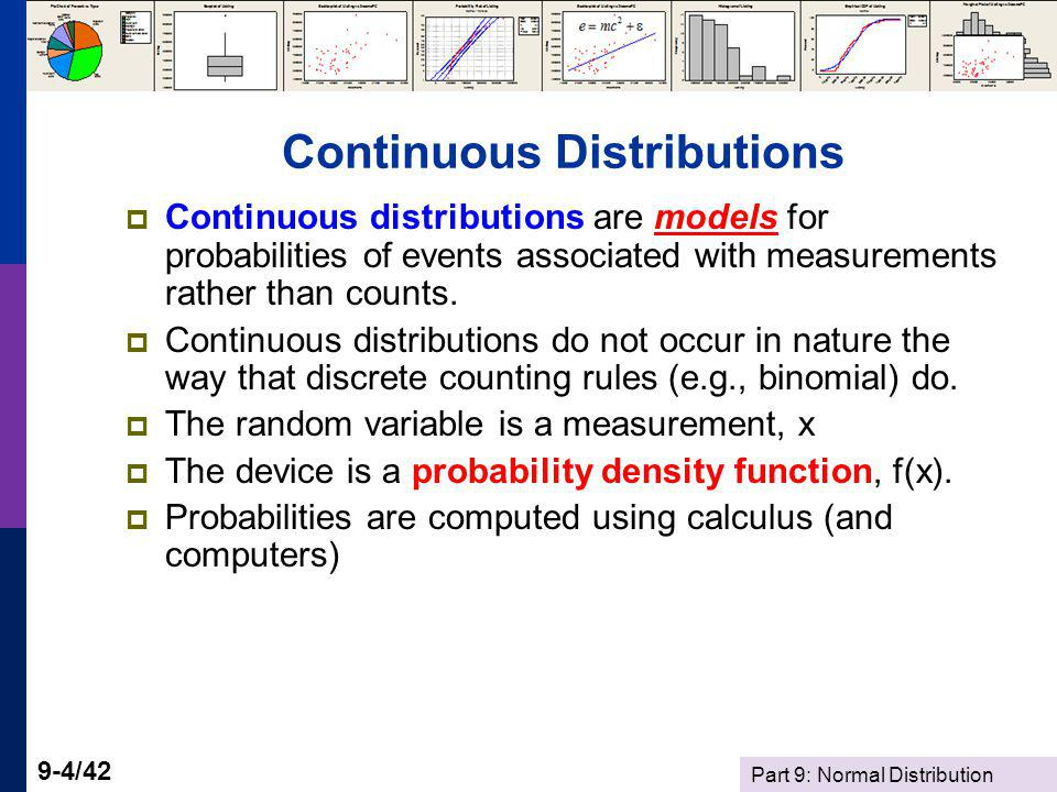 Part 9: Normal Distribution 9-25/42 Computing Probabilities Standard Normal Tables give probabilities when μ = 0 and σ = 1.