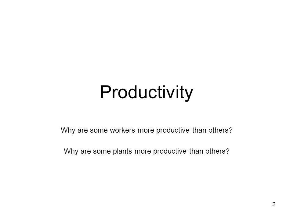 Productivity Why are some workers more productive than others.