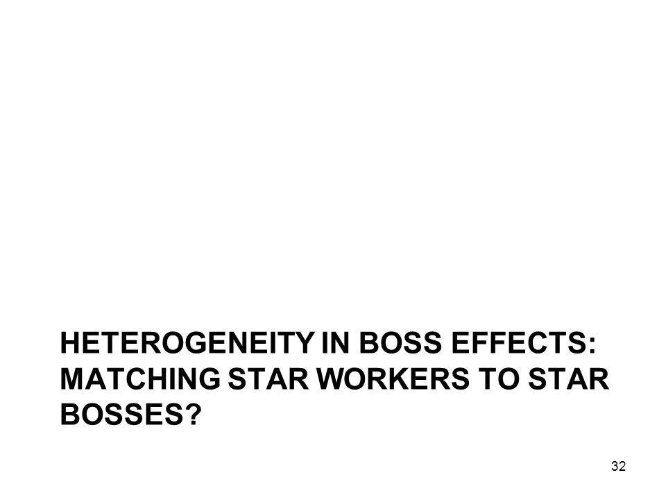 HETEROGENEITY IN BOSS EFFECTS: MATCHING STAR WORKERS TO STAR BOSSES? 32