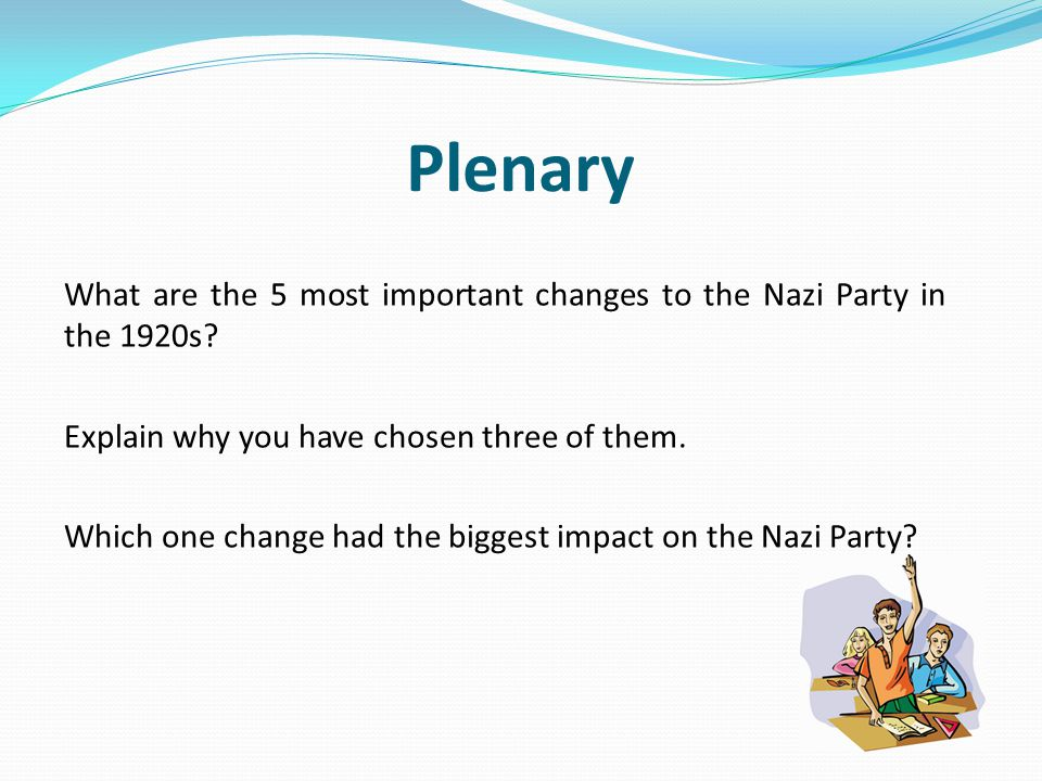Plenary What are the 5 most important changes to the Nazi Party in the 1920s.