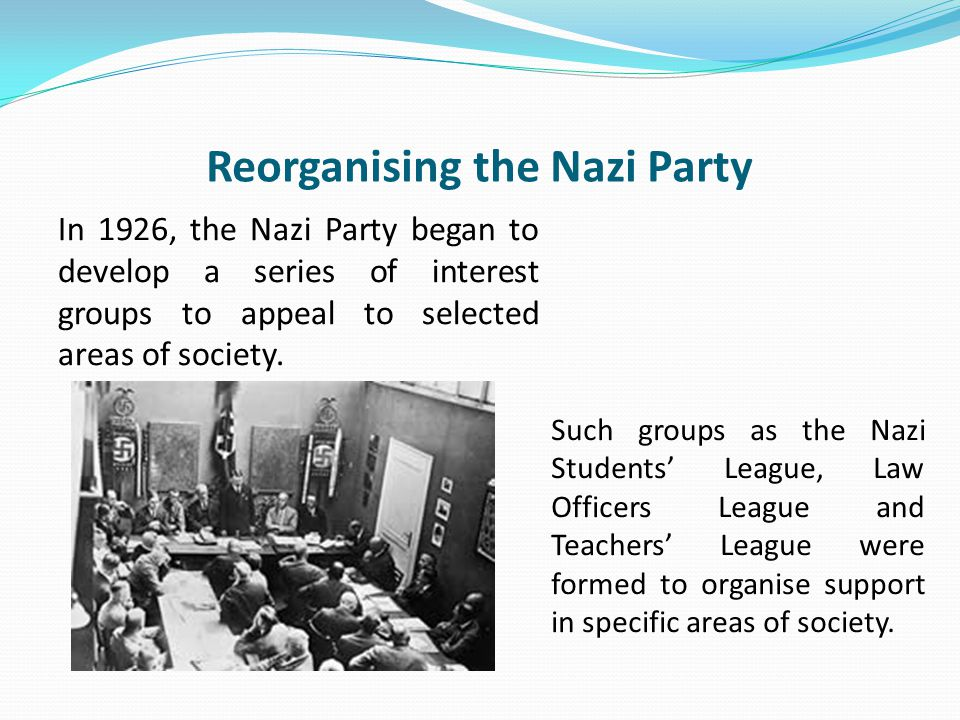 Reorganising the Nazi Party In 1926, the Nazi Party began to develop a series of interest groups to appeal to selected areas of society.