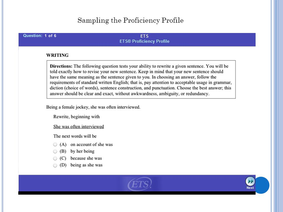 Sampling the Proficiency Profile
