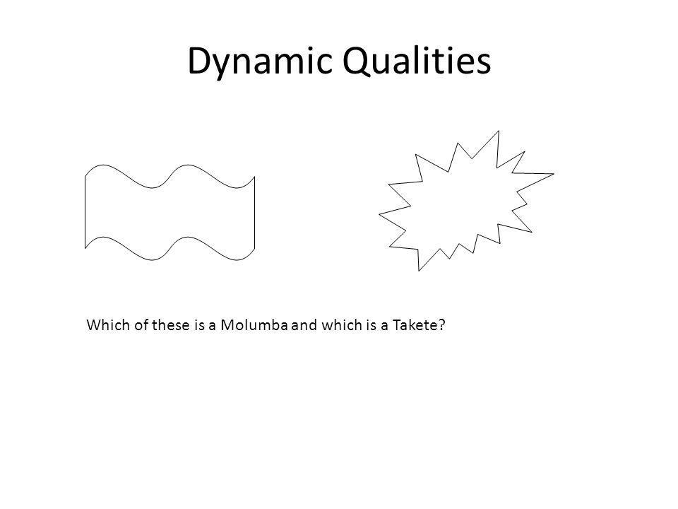 Dynamic Qualities Which of these is a Molumba and which is a Takete?