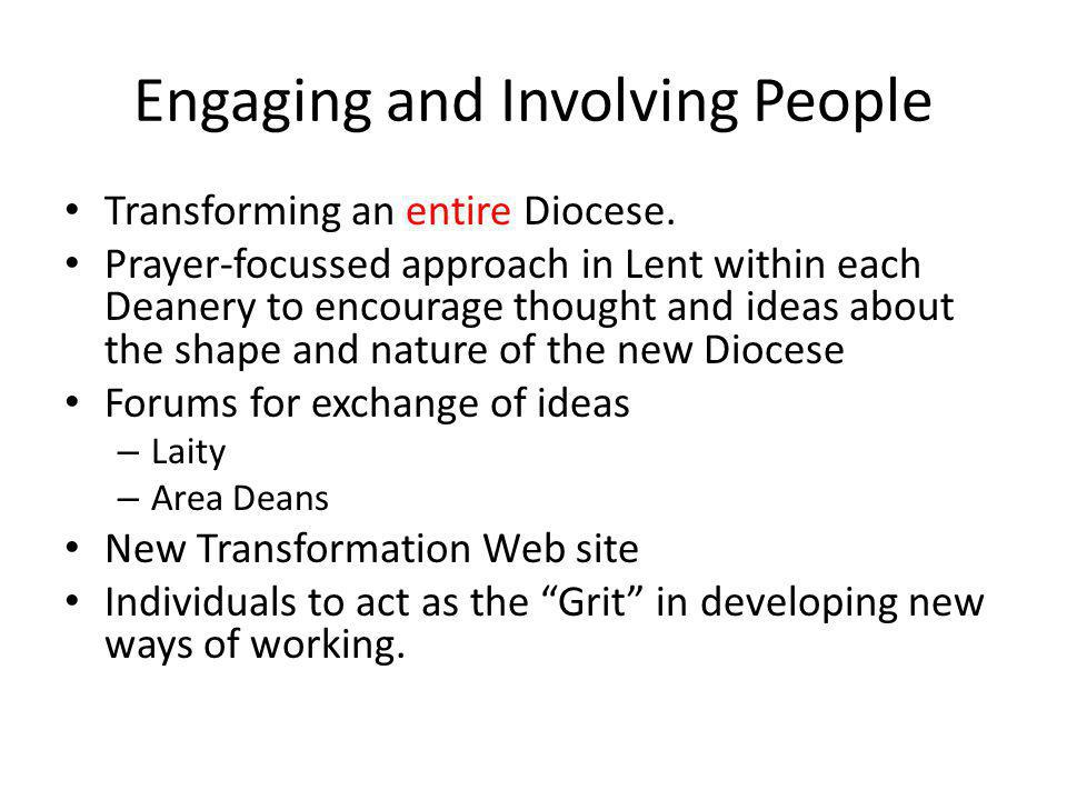 Engaging and Involving People Transforming an entire Diocese.
