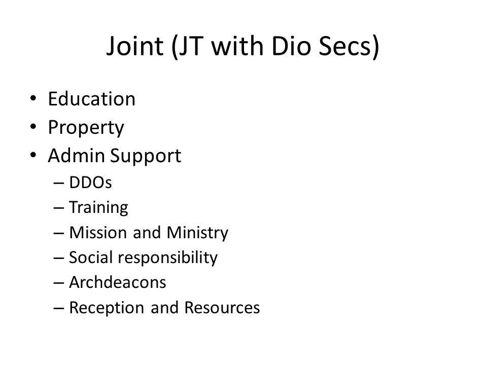 Joint (JT with Dio Secs) Education Property Admin Support – DDOs – Training – Mission and Ministry – Social responsibility – Archdeacons – Reception and Resources
