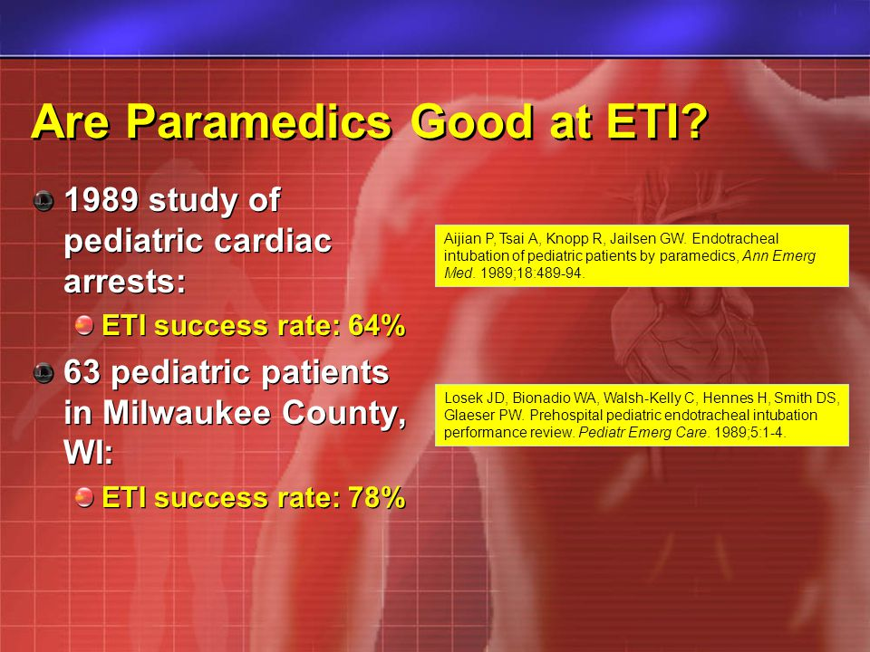 Are Paramedics Good at ETI? 1989 study of pediatric cardiac arrests: ETI success rate: 64% 63 pediatric patients in Milwaukee County, WI: ETI success