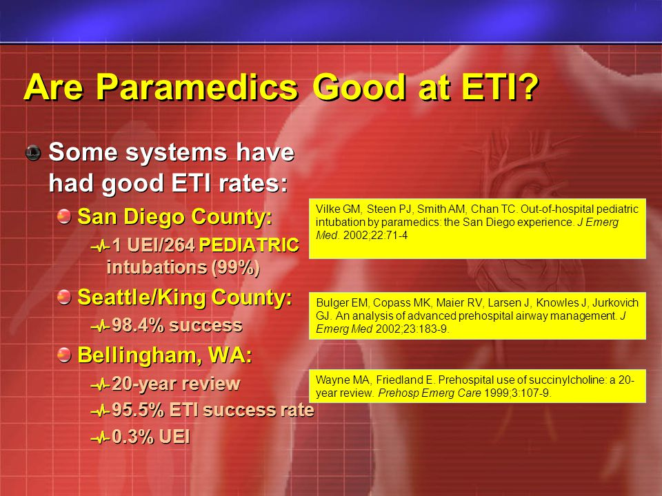 Are Paramedics Good at ETI? Some systems have had good ETI rates: San Diego County: 1 UEI/264 PEDIATRIC intubations (99%) Seattle/King County: 98.4% s
