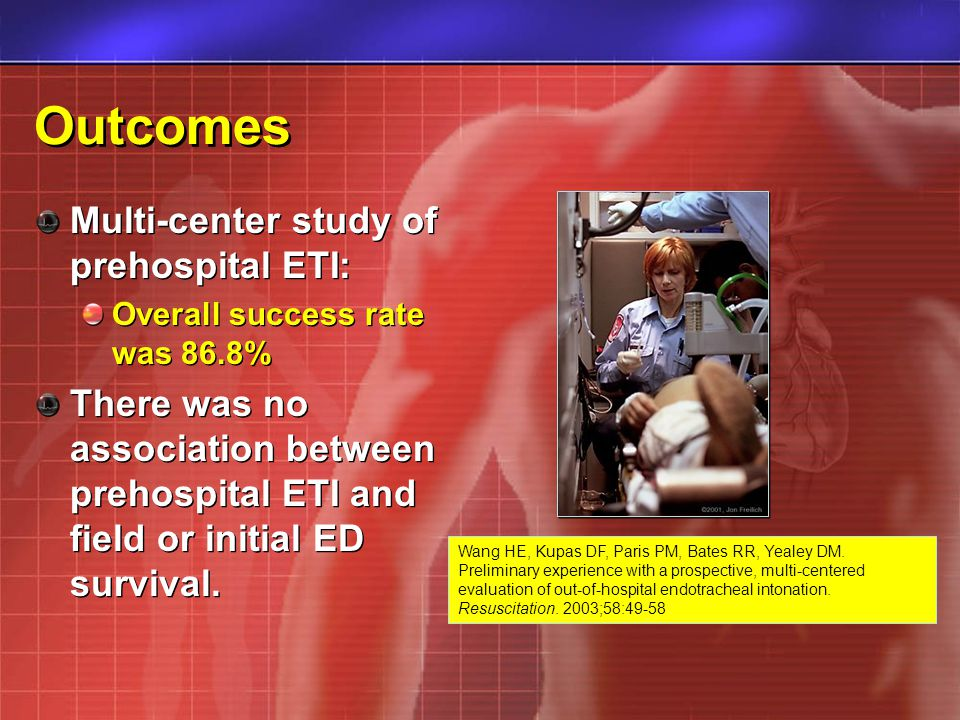 Outcomes Multi-center study of prehospital ETI: Overall success rate was 86.8% There was no association between prehospital ETI and field or initial ED survival.