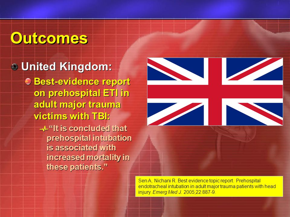 Outcomes United Kingdom: Best-evidence report on prehospital ETI in adult major trauma victims with TBI: It is concluded that prehospital intubation is associated with increased mortality in these patients.