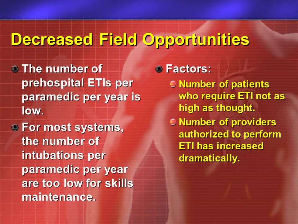 Decreased Field Opportunities The number of prehospital ETIs per paramedic per year is low. For most systems, the number of intubations per paramedic