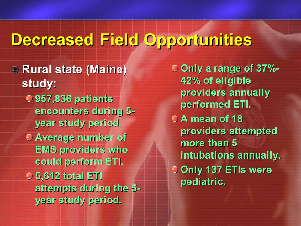 Decreased Field Opportunities Rural state (Maine) study: 957,836 patients encounters during 5- year study period. Average number of EMS providers who
