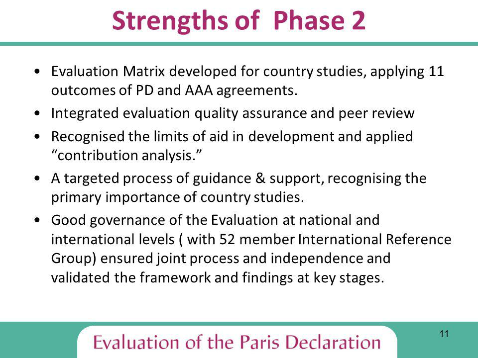 11 Strengths of Phase 2 Evaluation Matrix developed for country studies, applying 11 outcomes of PD and AAA agreements.