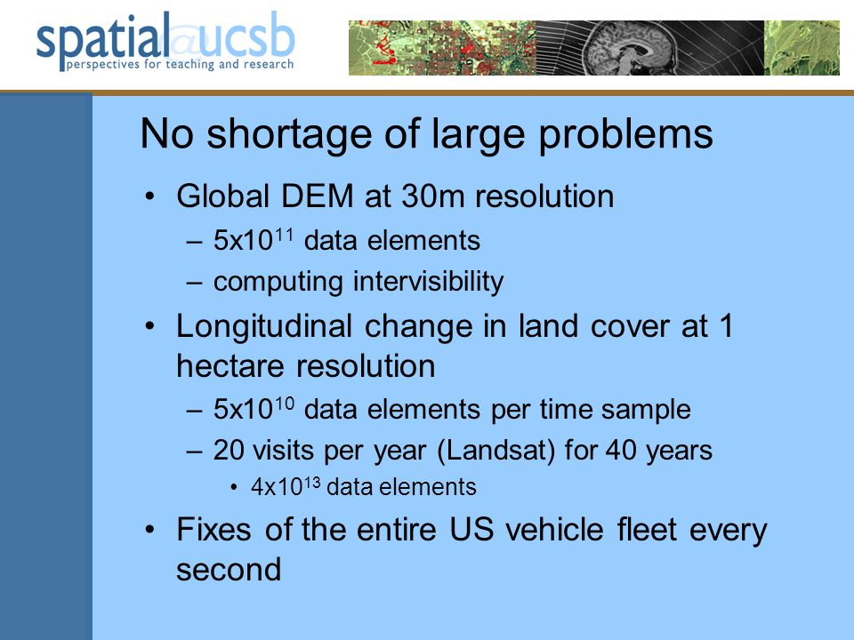 No shortage of large problems Global DEM at 30m resolution –5x10 11 data elements –computing intervisibility Longitudinal change in land cover at 1 hectare resolution –5x10 10 data elements per time sample –20 visits per year (Landsat) for 40 years 4x10 13 data elements Fixes of the entire US vehicle fleet every second