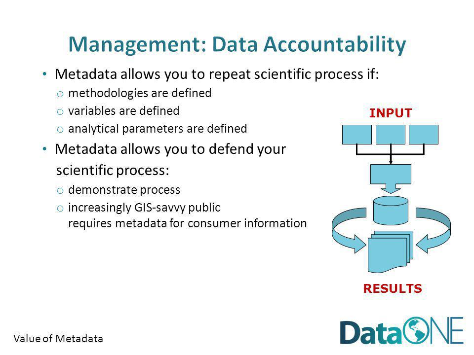 Value of Metadata Metadata allows you to repeat scientific process if: o methodologies are defined o variables are defined o analytical parameters are defined Metadata allows you to defend your scientific process: o demonstrate process o increasingly GIS-savvy public requires metadata for consumer information INPUT RESULTS