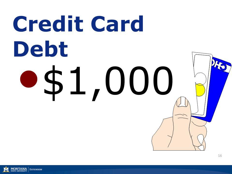 16 Credit Card Debt $1,000