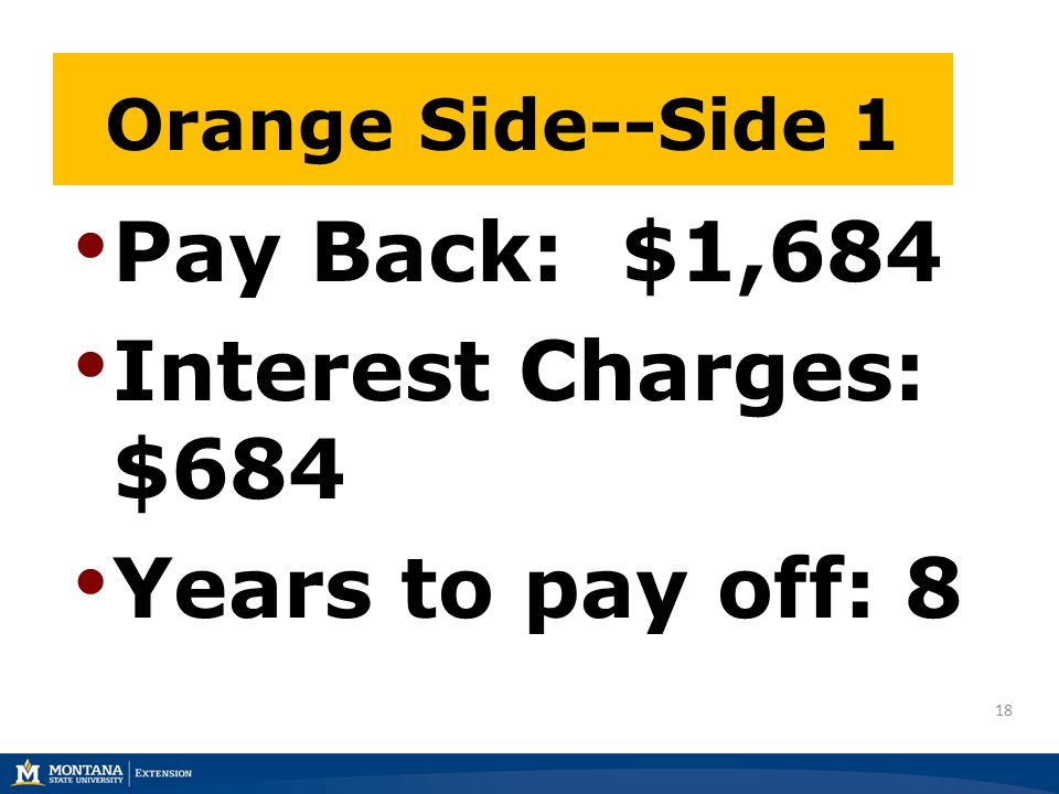 18 Pay Back: $1,684 Interest Charges: $684 Years to pay off: 8 Orange Side--Side 1