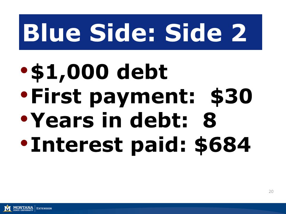 20 $1,000 debt First payment: $30 Years in debt: 8 Interest paid: $684 Blue Side: Side 2