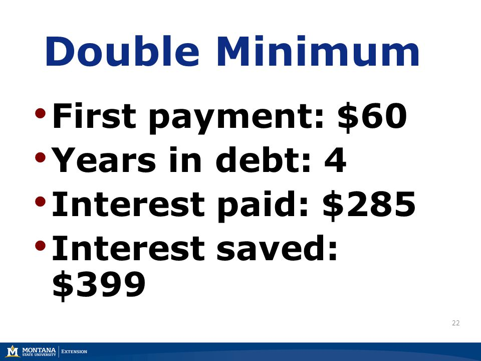 22 Double Minimum First payment: $60 Years in debt: 4 Interest paid: $285 Interest saved: $399
