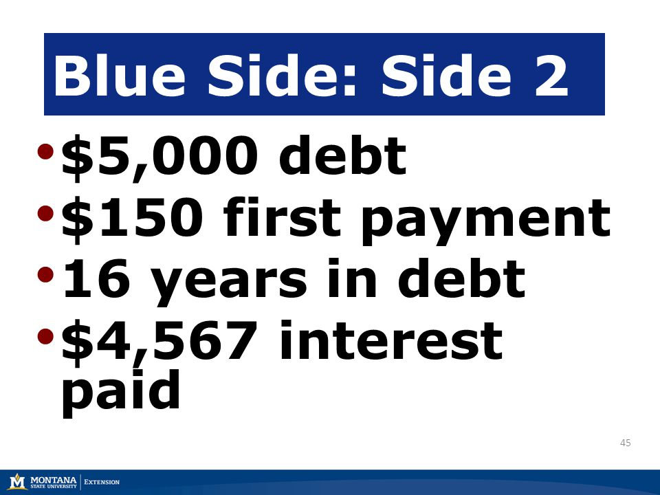45 $5,000 debt $150 first payment 16 years in debt $4,567 interest paid Blue Side: Side 2