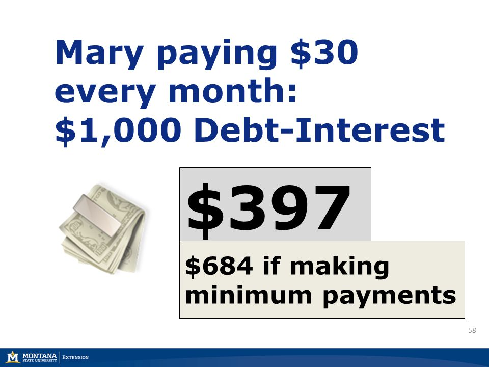 58 Mary paying $30 every month: $1,000 Debt-Interest $397 $684 if making minimum payments