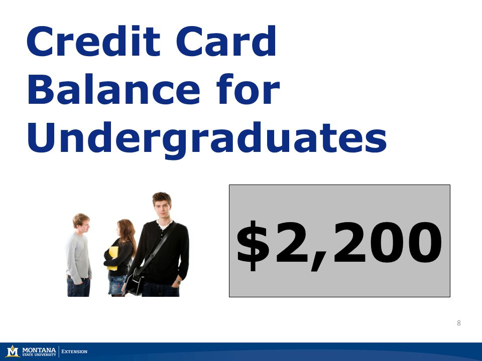8 Credit Card Balance for Undergraduates $2,200