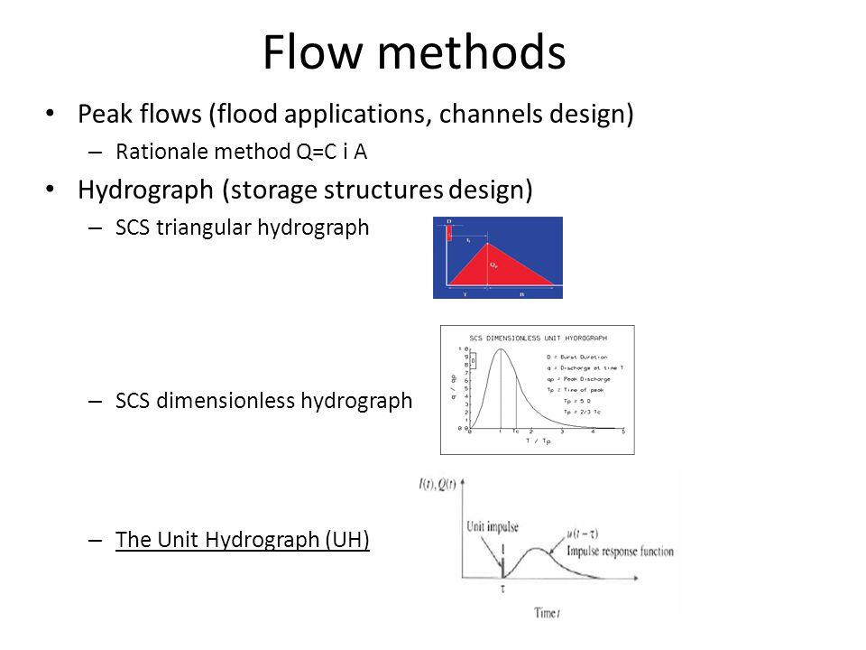 Peak flows (flood applications, channels design) – Rationale method Q=C i A Hydrograph (storage structures design) – SCS triangular hydrograph – SCS dimensionless hydrograph – The Unit Hydrograph (UH) Flow methods