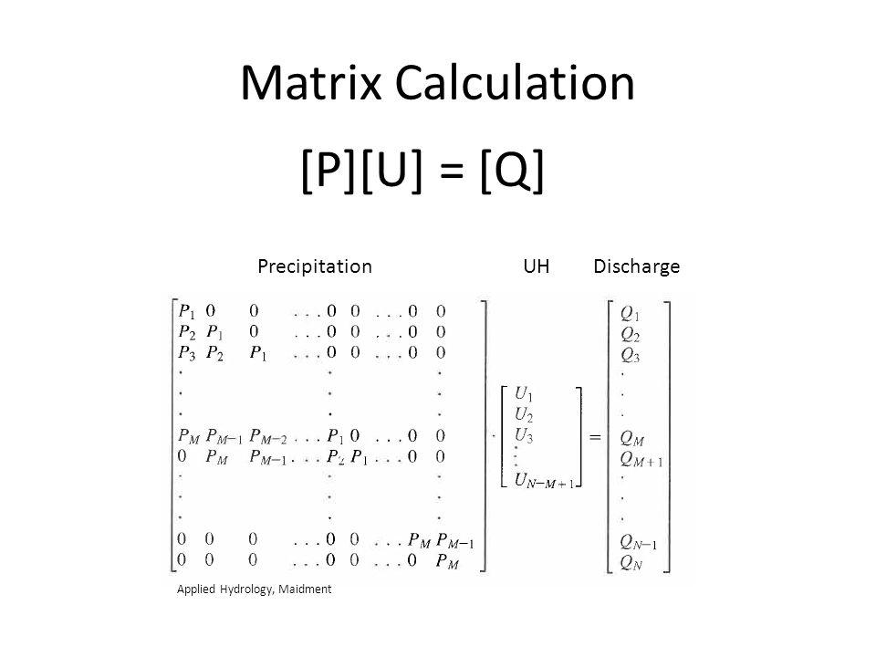 Matrix Calculation [P][U] = [Q] PrecipitationUHDischarge Applied Hydrology, Maidment