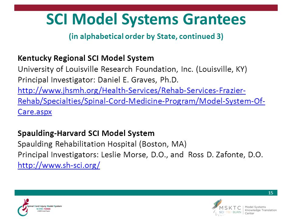 15 SCI Model Systems Grantees (in alphabetical order by State, continued 3) Kentucky Regional SCI Model System University of Louisville Research Found