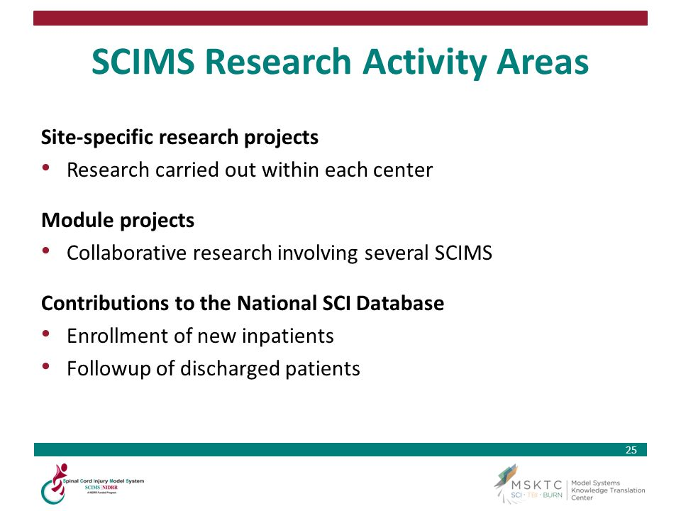 25 SCIMS Research Activity Areas Site-specific research projects Research carried out within each center Module projects Collaborative research involv