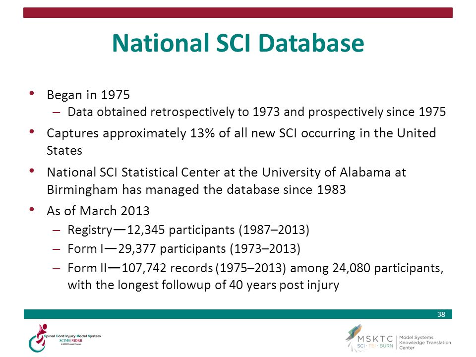 38 National SCI Database Began in 1975 – Data obtained retrospectively to 1973 and prospectively since 1975 Captures approximately 13% of all new SCI