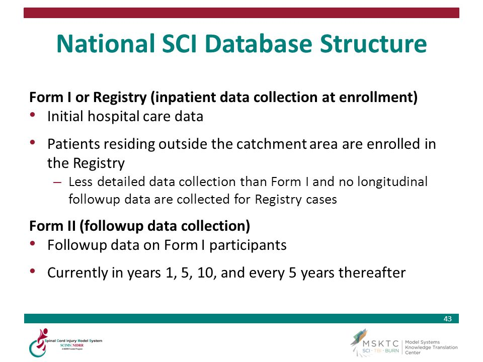 43 National SCI Database Structure Form I or Registry (inpatient data collection at enrollment) Initial hospital care data Patients residing outside t