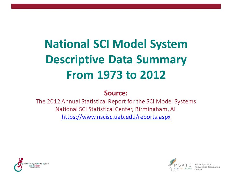 65 National SCI Model System Descriptive Data Summary From 1973 to 2012 Source: The 2012 Annual Statistical Report for the SCI Model Systems National