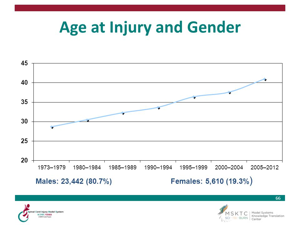 66 Age at Injury and Gender Males: 23,442 (80.7%) Females: 5,610 (19.3% )