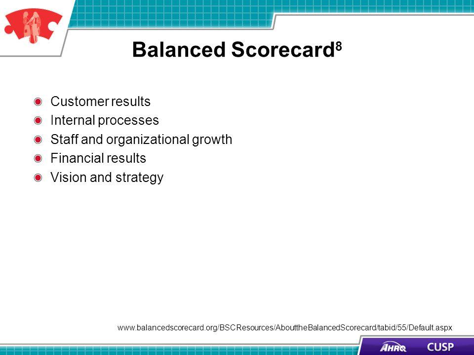 Balanced Scorecard 8 Customer results Internal processes Staff and organizational growth Financial results Vision and strategy www.balancedscorecard.o