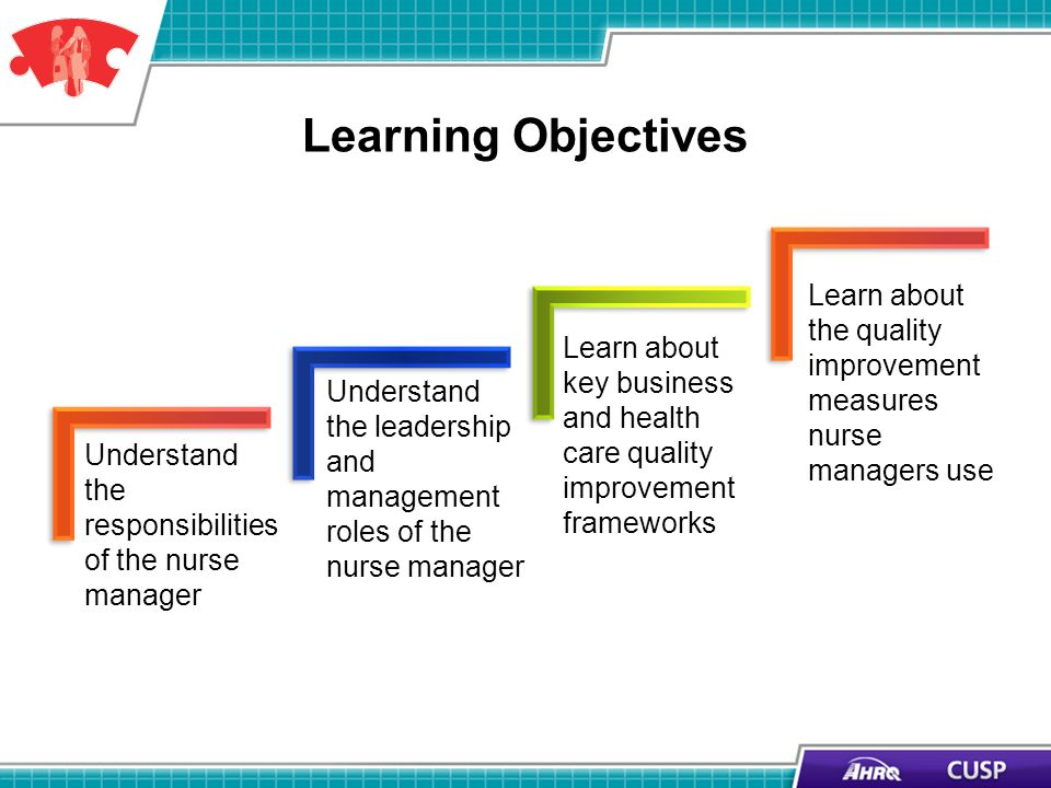 Learning Objectives Understand the responsibilities of the nurse manager Understand the leadership and management roles of the nurse manager Learn abo