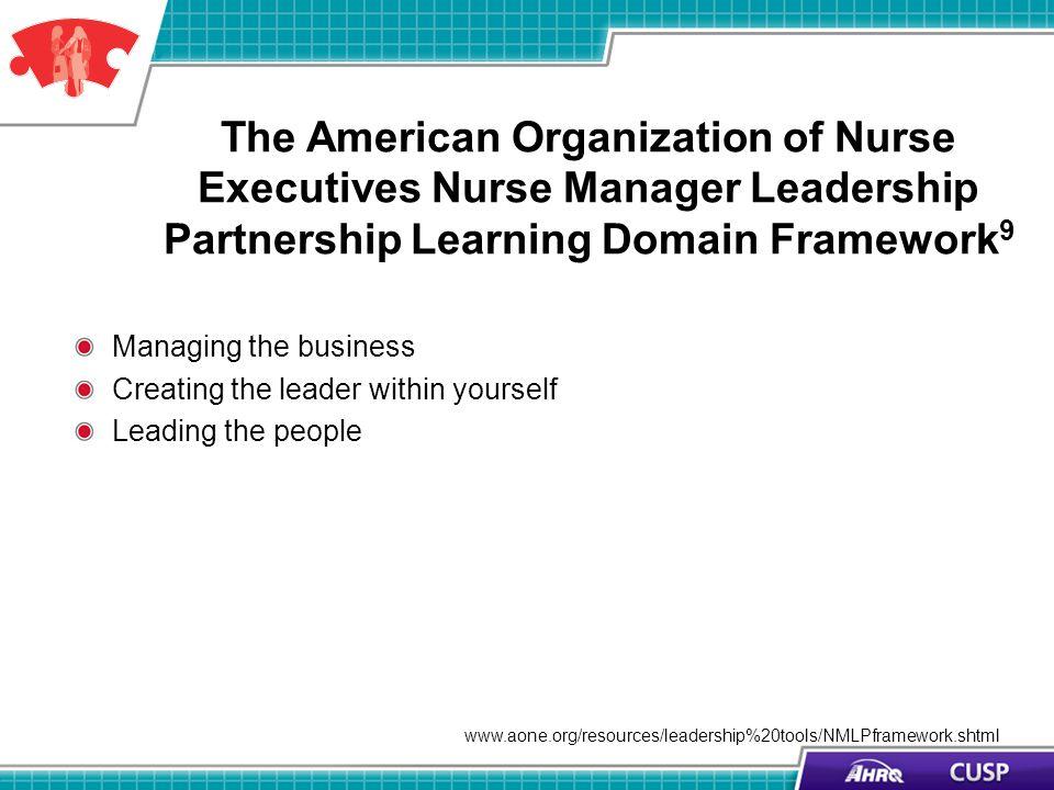 The American Organization of Nurse Executives Nurse Manager Leadership Partnership Learning Domain Framework 9 Managing the business Creating the lead