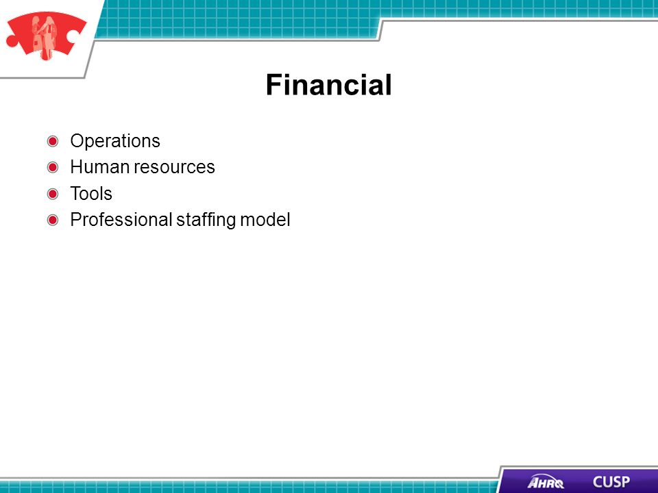Financial Operations Human resources Tools Professional staffing model