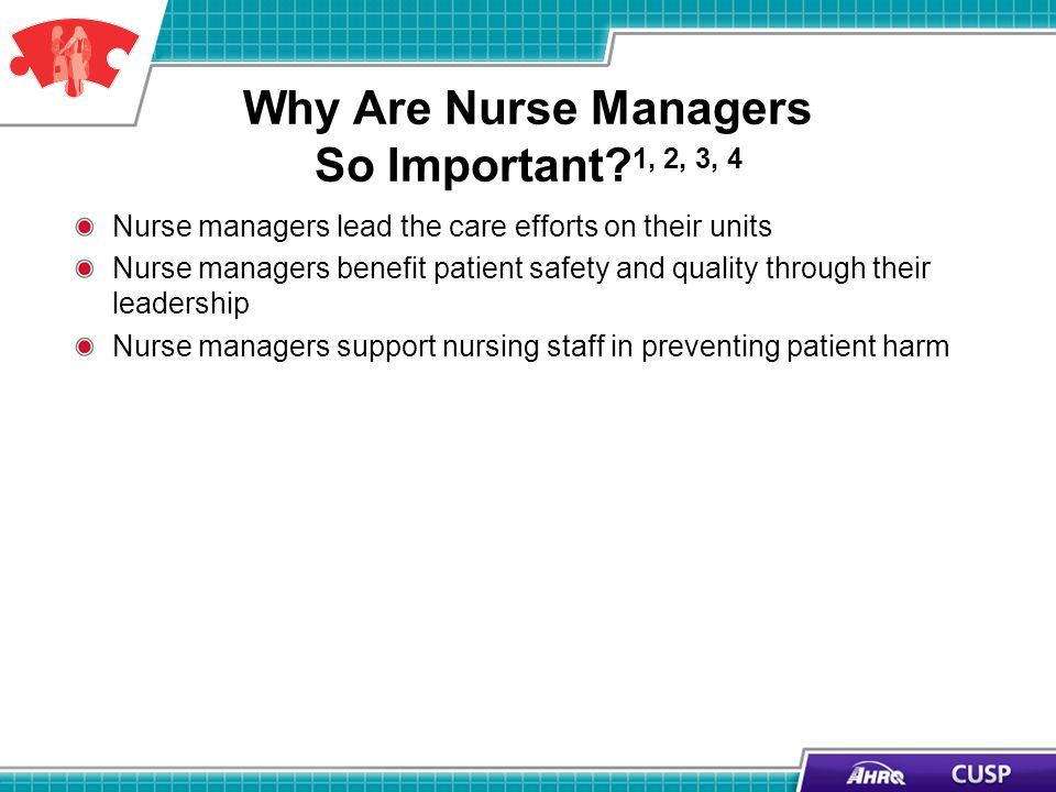 Why Are Nurse Managers So Important? 1, 2, 3, 4 Nurse managers lead the care efforts on their units Nurse managers benefit patient safety and quality