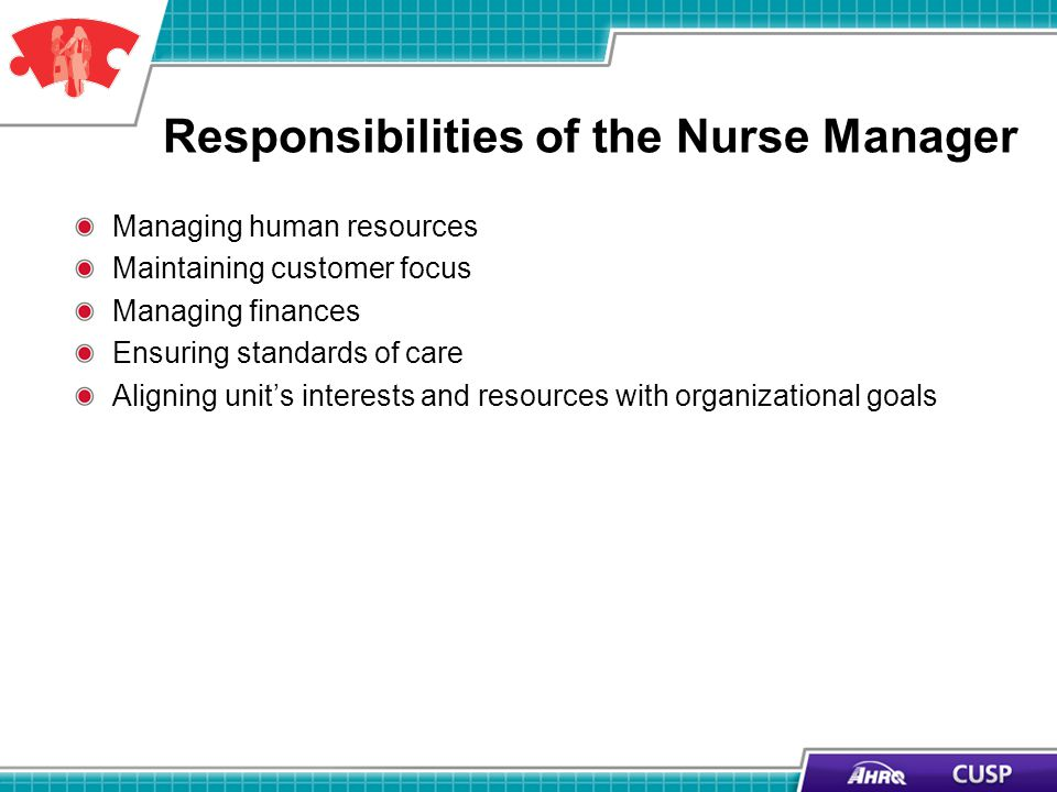 Responsibilities of the Nurse Manager Managing human resources Maintaining customer focus Managing finances Ensuring standards of care Aligning units interests and resources with organizational goals