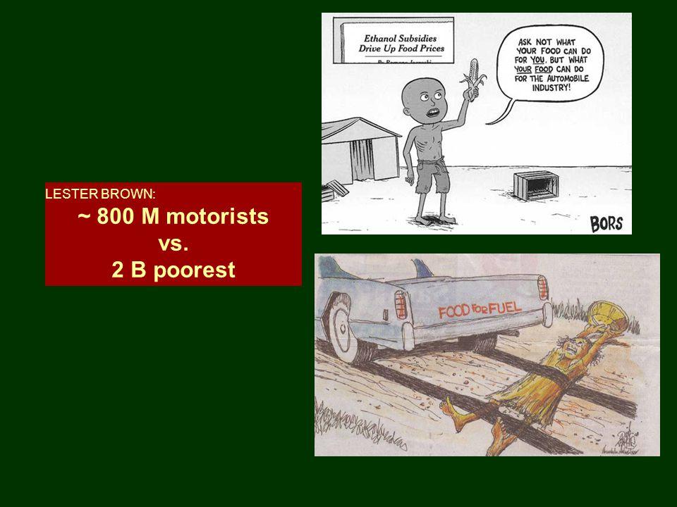 LESTER BROWN: ~ 800 M motorists vs. 2 B poorest