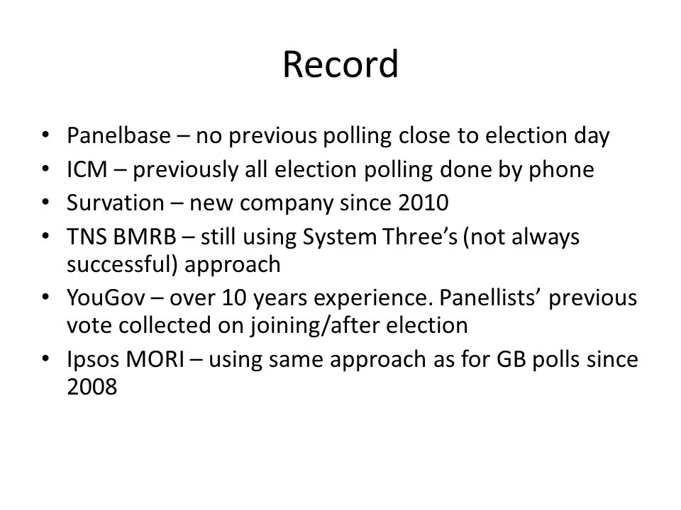 Record Panelbase – no previous polling close to election day ICM – previously all election polling done by phone Survation – new company since 2010 TN
