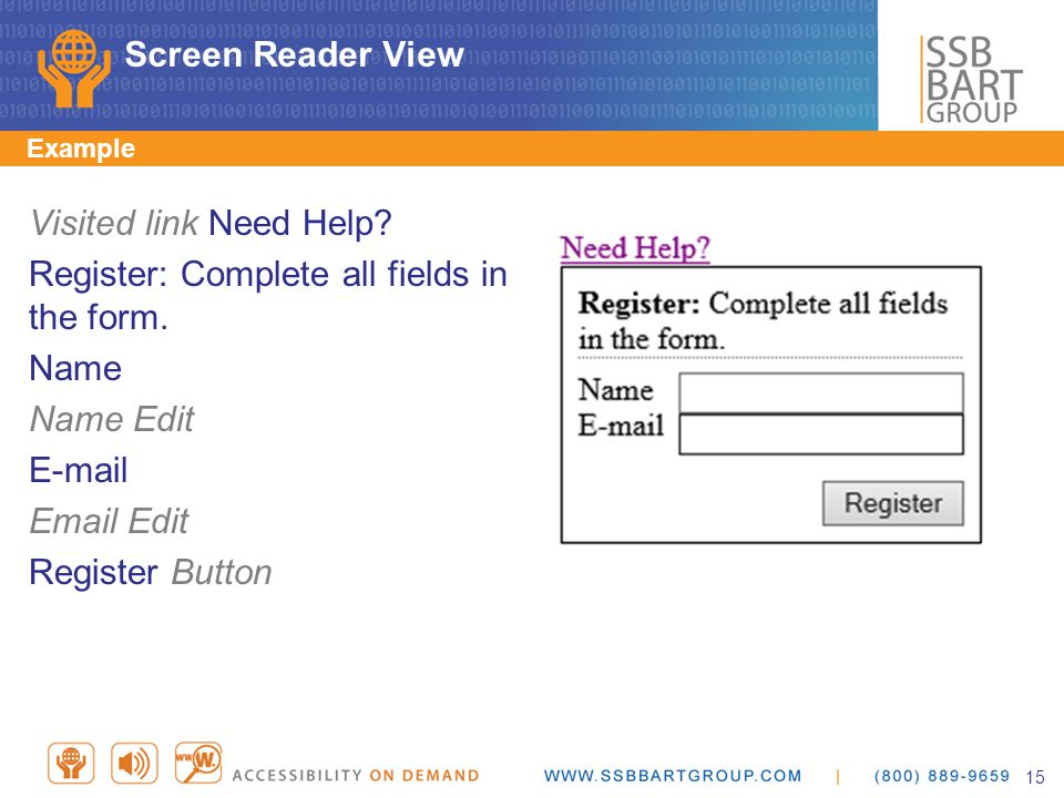 Screen Reader View Example Visited link Need Help.