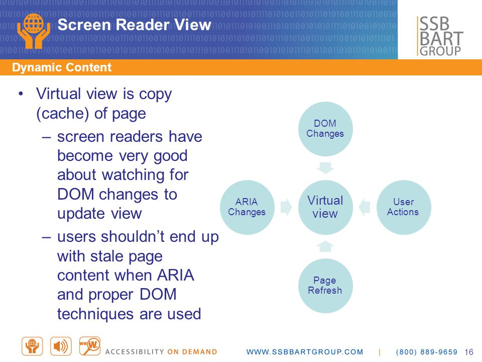 Screen Reader View Dynamic Content Virtual view is copy (cache) of page –screen readers have become very good about watching for DOM changes to update