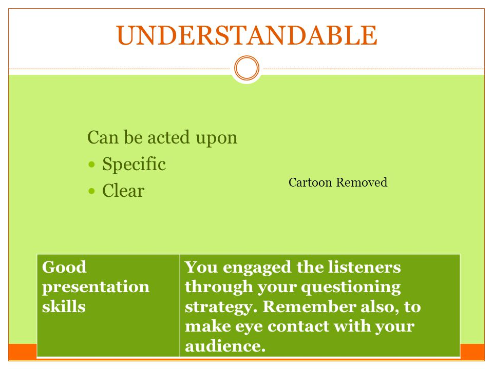 UNDERSTANDABLE Can be acted upon Specific Clear Good presentation skills You engaged the listeners through your questioning strategy. Remember also, t