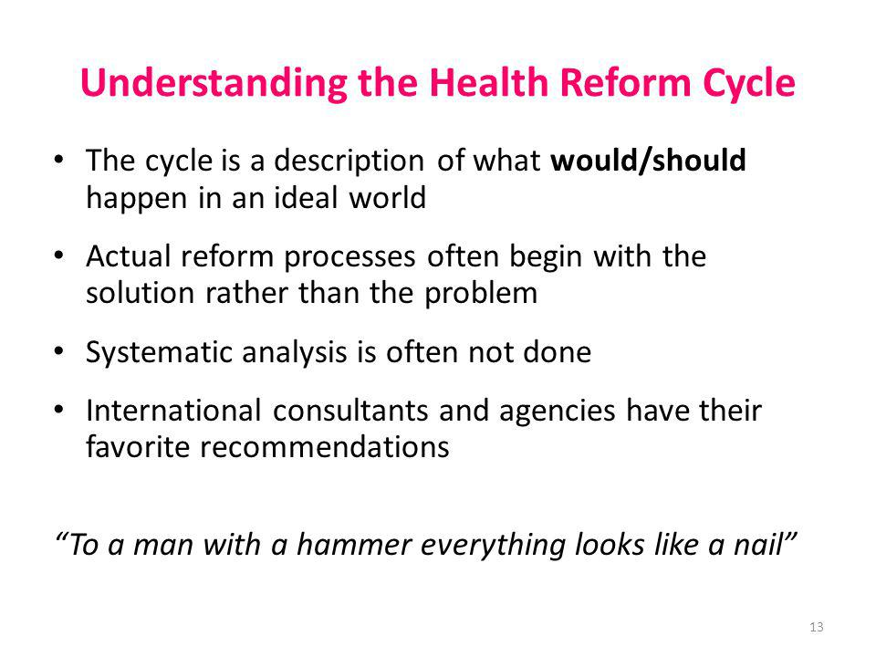 Understanding the Health Reform Cycle The cycle is a description of what would/should happen in an ideal world Actual reform processes often begin wit