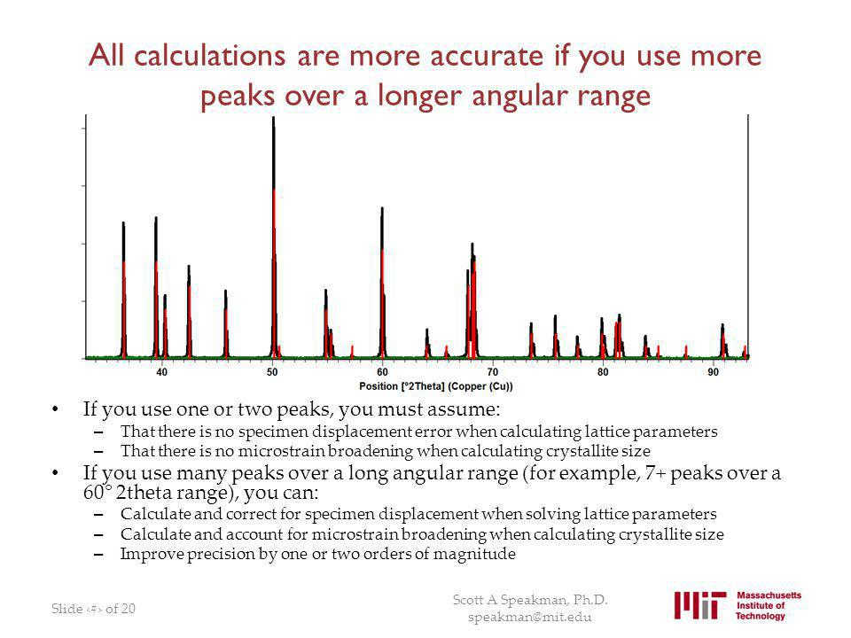 All calculations are more accurate if you use more peaks over a longer angular range If you use one or two peaks, you must assume: – That there is no